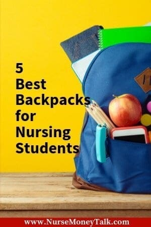 A picture of a bookbag for nursing school.
