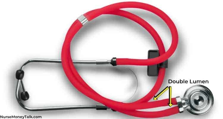 a red stethoscope with the double lumen part labeled