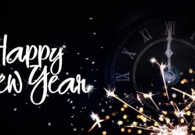 a happy new year banner with fireworks