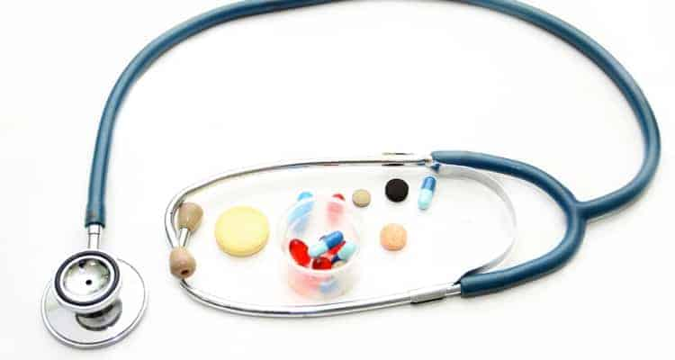 stethoscope next to individual meds
