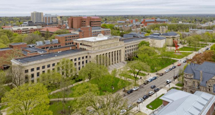 Top view of University of Michigan in Ann Arbor, Michigan