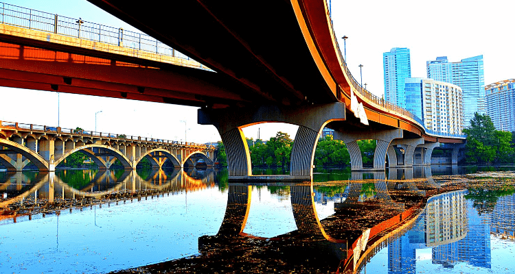 Bridge reflection in Austin, Texas