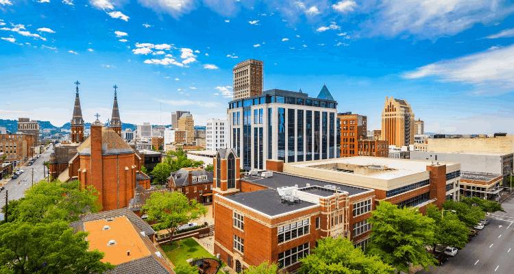 Beautiful and colorful view of  Birmingham, Alabama
