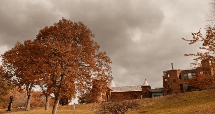 Neighborhood during autumn in Chestnut Hill, Massachusetts