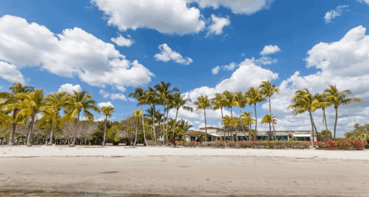 Beautiful beach view in Coral Gables, Florida