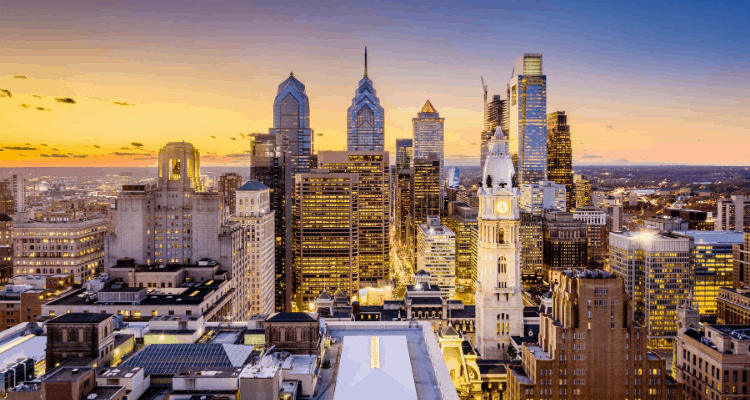City night lights of Philadelphia, Pennsylvania