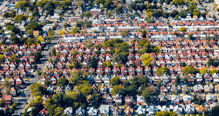 Top view of a village in Rockville Centre, New York