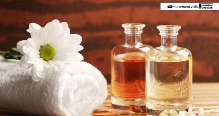 essential oils and towel
