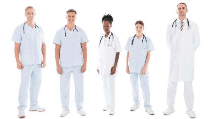 nurses wearing white scrubs